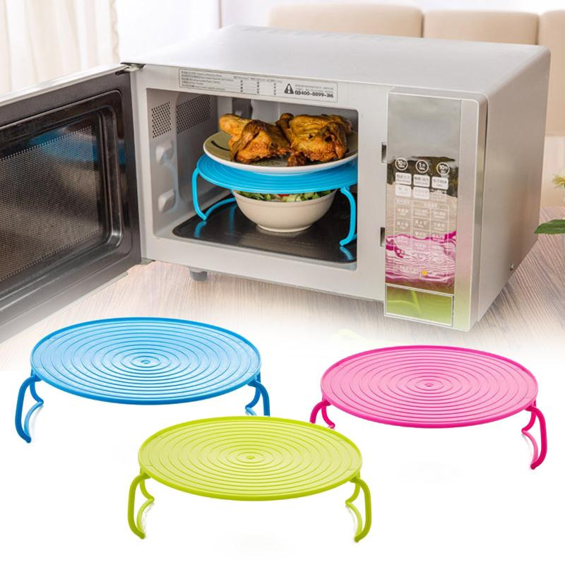 Multifunction Microwave Oven Shelf Insulated Heating Tray Rack Bowls Holder Organizer Kitchen Accessories 3 Colors Drop shipping