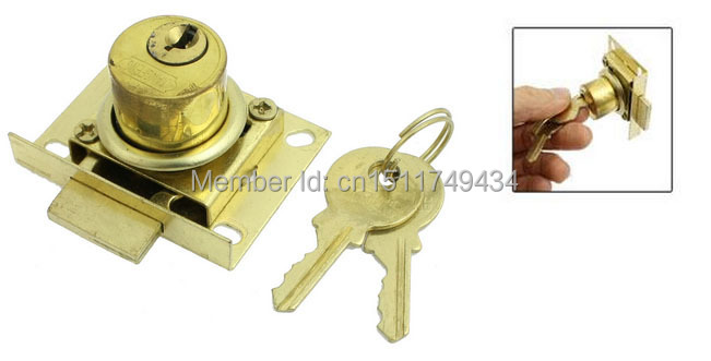 27mm Height Funiture Fitting Square Plate Glass Door Lock Gold Tone w Keys 2sets(China