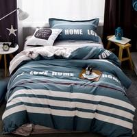 100 Cotton Striped Beddingset 3pc Duvet Cover Sheet Pillowcases