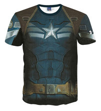 Slim Fit Armour Marvel Captain America/Superman Print Novelty 3D Camisetas Compression T shirt Men Thermal Tees Fitness Tights