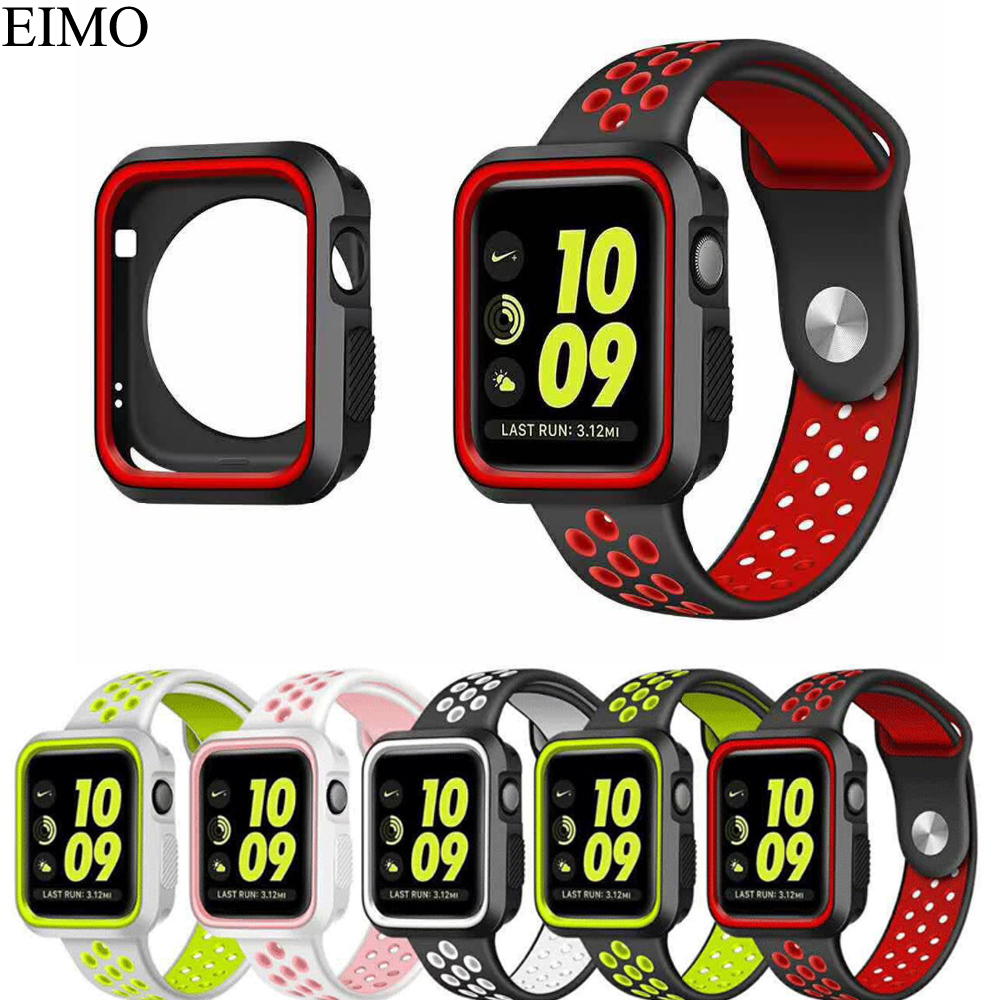 EIMO Case Cover for apple watch band 42mm 38mm Iwatch series 3/2/1 Sport Silicone Full Protector Soft shell Bracelet Watchband sport loop for apple watch band case 42mm 38mm nylon watch strap bracelet with metal frame protector case cover for iwatch 3 2 1