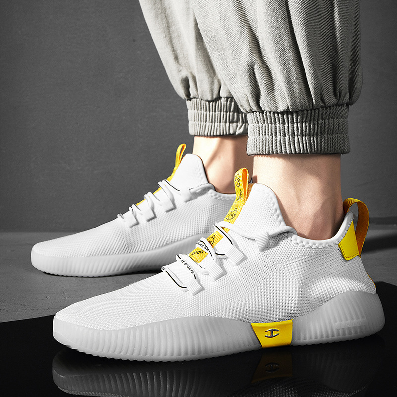 Sports Shoes Men 2019 Summer New Breathable Mesh Casual Shoes Men Korean Version of the Tide Fly Weaving Sneakers(China)