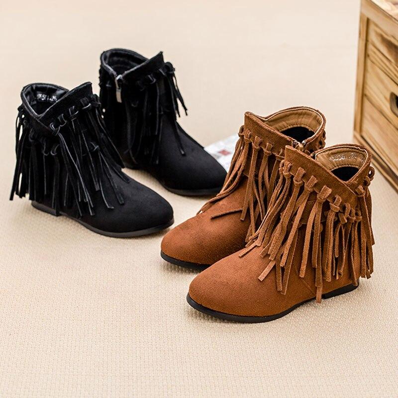 Online Shop girl shoes winter 2015 kids fringe boots genuine ...