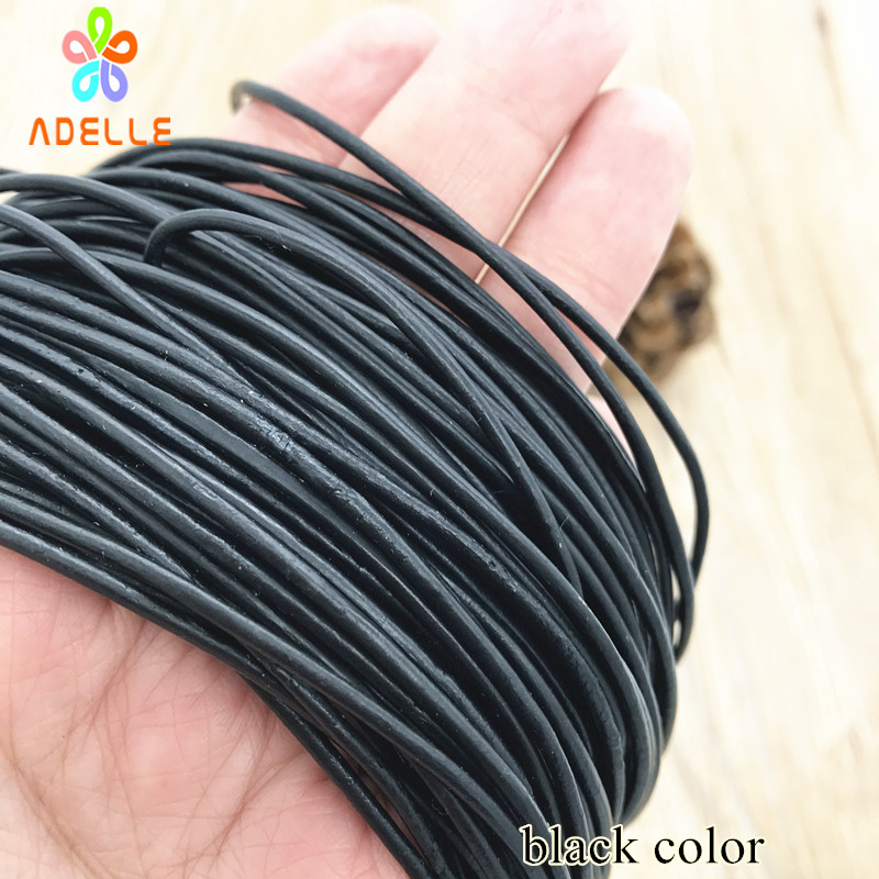 1/2/3/4/5/6/8mm 100% real Round Leather Cord/string/lace Natural/black/coffee color belt jewellery bracelet free shipping 20m