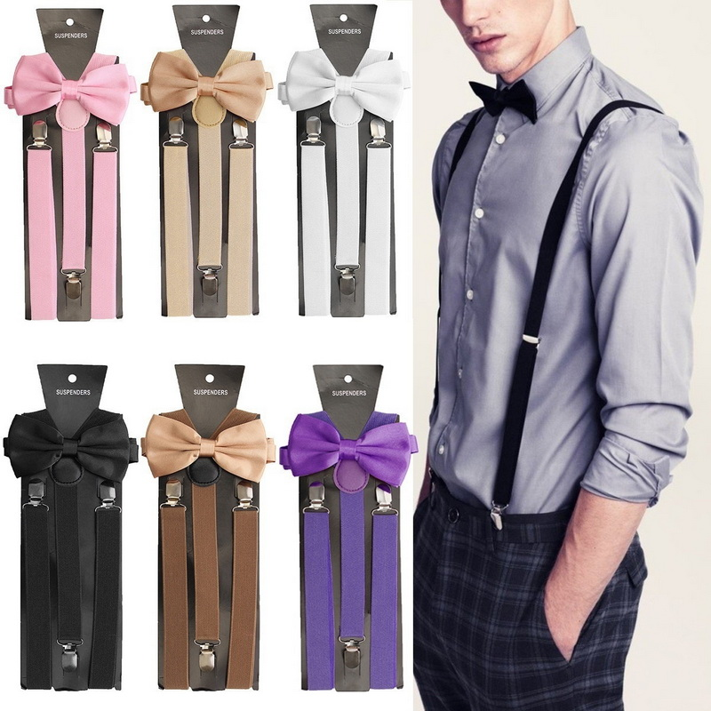Adults Child Elegant Solid Color Clip-on Elastic Suspenders Y-Shape Adjustable Braces With Bow Tie