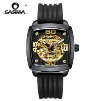 Casima moda casual negócios ouro automático men relógios mecânicos pulseiras de silicone à prova dwaterproof água 6912|watchbands man|watchbands gold|watchband silicone -