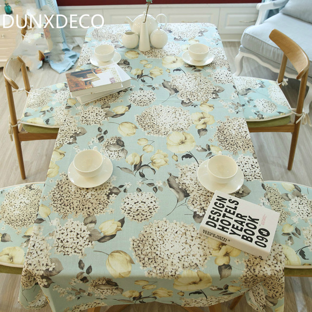 Dunxdeco Tablecloth Linen Cotton Table Cover Fabric French Country Style Hydrangea Flora Garden Party Decoration