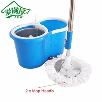 AMW 360 Rolling Magic Floor Spin Mop Hands free Spin Mop Bucket Set Foot Pedal Rotating Floor Mop with 2 Microfiber Mop Heads