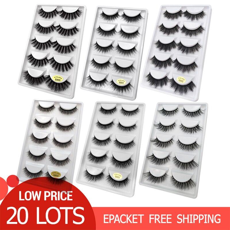 100 paires gros faux cils naturel vison cils cils vison faux cils Extensions de cils maquiagem faux cilsFaux-cils   -