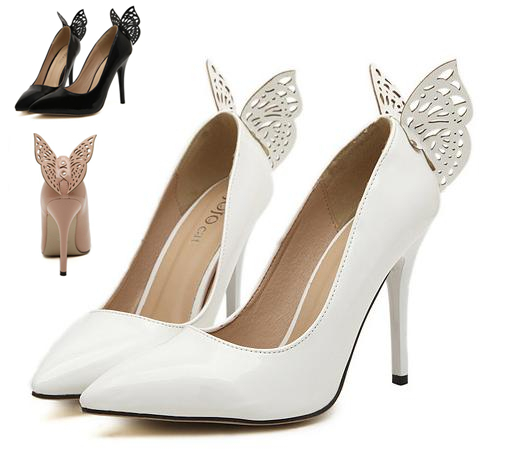 White Butterfly Wedding Shoes Women Sexy High Heels Prom Gown Dress 3 Colors Size 35 To 40 In Womens Pumps From On Aliexpress