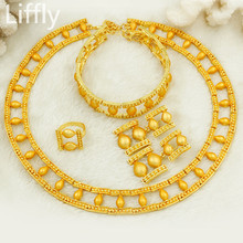 Liffly Gold Jewelry Sets for Women Turkey Bridal Wedding Necklace Earings Fashion Birthday Gift