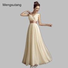 Robe de soiree 2017 new evening dress Simple Solid Color Pleat Chiffon V-Neck Vestidos de festa prom dresses Custom Made