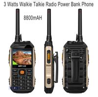 3 Watts Walike Talkie UHF Radio 8800mAh Rugged Waterproof Phone Senior Old Man Mobile Power Bank