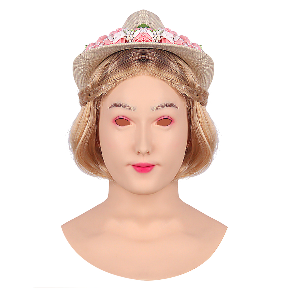 KOOMIHO Asian Woman Soft Silicone Crossdress Cosplay Mask Female Head Mask Handmade Makeup Transgender Mask Drag Queen 3G  - buy with discount
