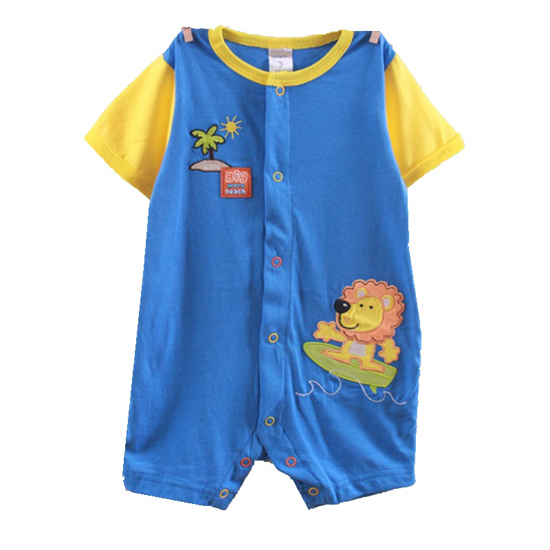 Cute Surfing Lion Baby Rompers for Boy Jumper Overalls for Infants Body Summer 2018 New Born Bebe Clothing Toddler Clothes Wear