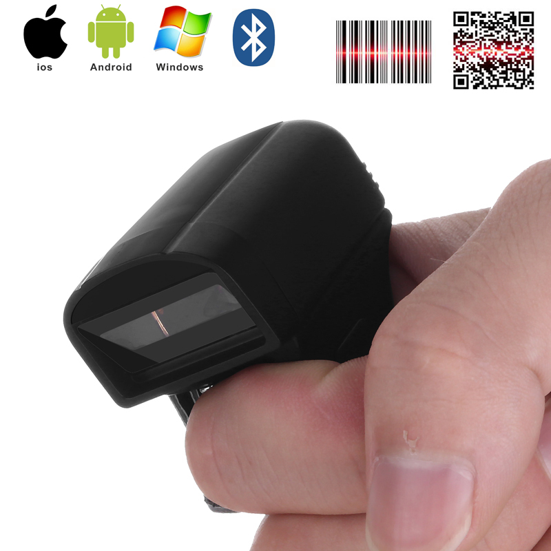 Free Shipping Mini Bluetooth Finger Ring 1D/2D Scanner Barcode Reader IOS Android Windows PDF417 DM QR Code 2D Wireless Scanner image