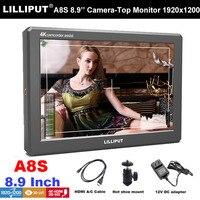 Lilliput A8S 8,9 Utra тонкий ips 4 K 350nit 3G SDI Mini HDMI монитор 3D LUT Камера поле монитор 1920X1200 для DSLR Камера видео