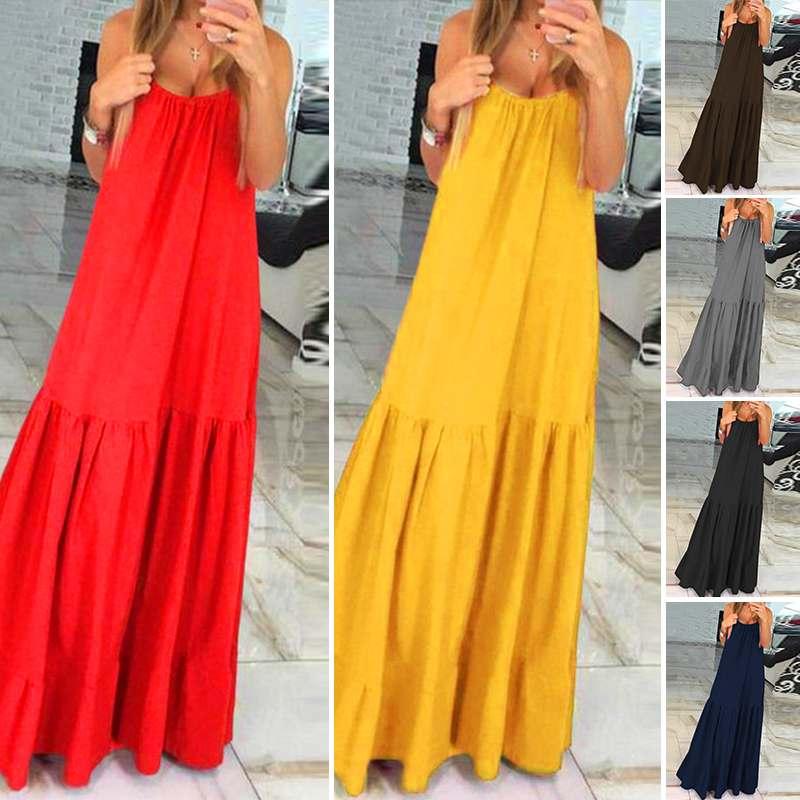 VONDA Bohemian Dress Women 19 Summer Sexy Sleeveless Spaghetti Strap Ruffle Swings Maxi Long Dresses Holiday Vestido Plus Size 5