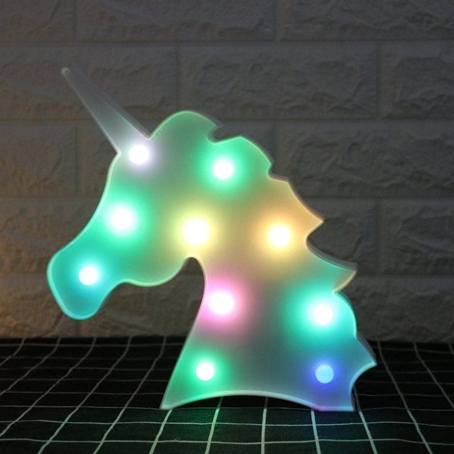 Creative Colorful Unicorn Head LED Night Light Up 3D Table Lamp Kids Children Bedroom Home Decor Marquee Letter Luminaria