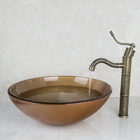 2014 Good Hand Painted Waterfall Brand Washbasin Lavatory Tempered Glass Sink Bath 426196006 Combine Brass Faucets