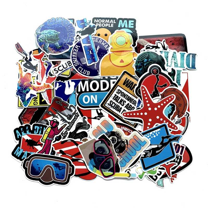 Diving Graffiti Stickers Funny Stickers Luggage Gift Kids Toys Sea  Waterproof Skateboard Sticker Toys for Children 60pcs/Lot