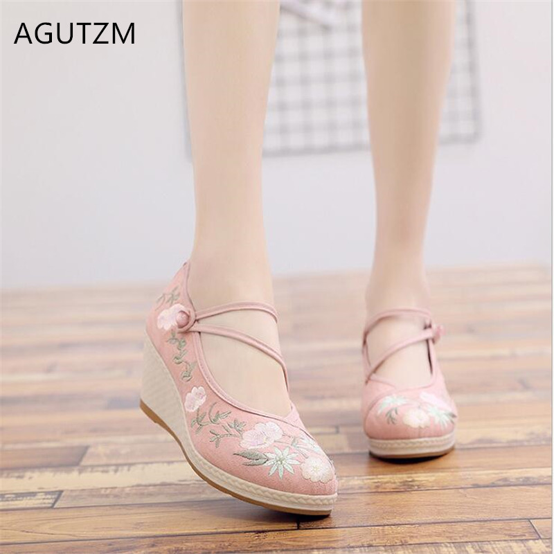 AGUTZM 2019 Spring Autumn New Embroidered Woman Shoes National Wind High Heel Shoes Hanfu Pumps Woman Casual Wedges Shoes Y187