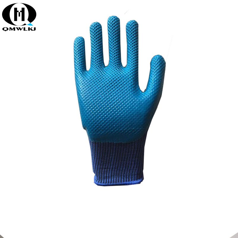 High Grip Latex Rubber Working Gloves Non-Slip Wear-Resistant Dip Latex Grid Stripe Increases Friction Oil Resistant Wear Resist