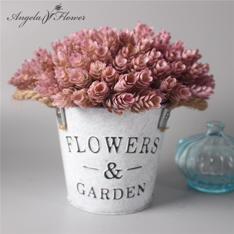 1 Set Flower Vase Artificial Plant With Iron Bucket Farmhouse Style Table Accessories