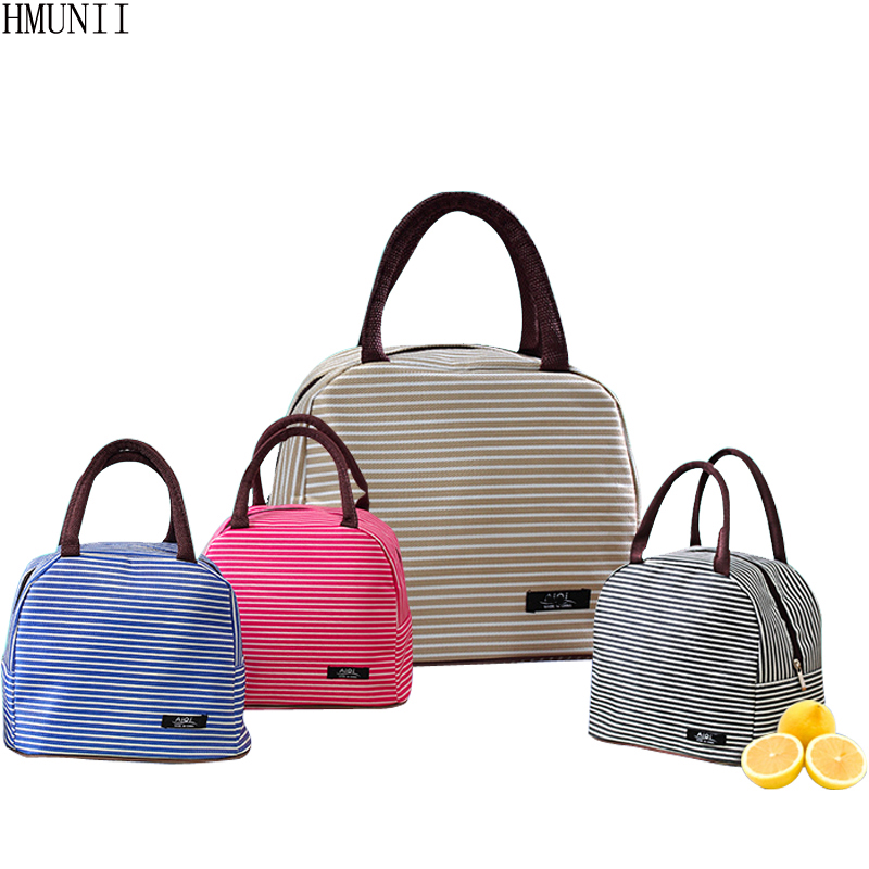 hmunii new white stripes lunch box bag insulated canvas. Black Bedroom Furniture Sets. Home Design Ideas