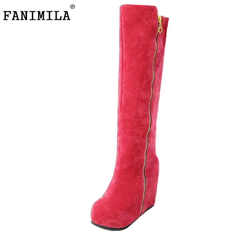 FANIMILA women platform over knee boots snow boot warm winter botas masculina cotton fashion footwear heel shoes size 32-43 free shipping over knee wedge boots women snow fashion winter warm footwear shoes boot p15323 eur size 34 39