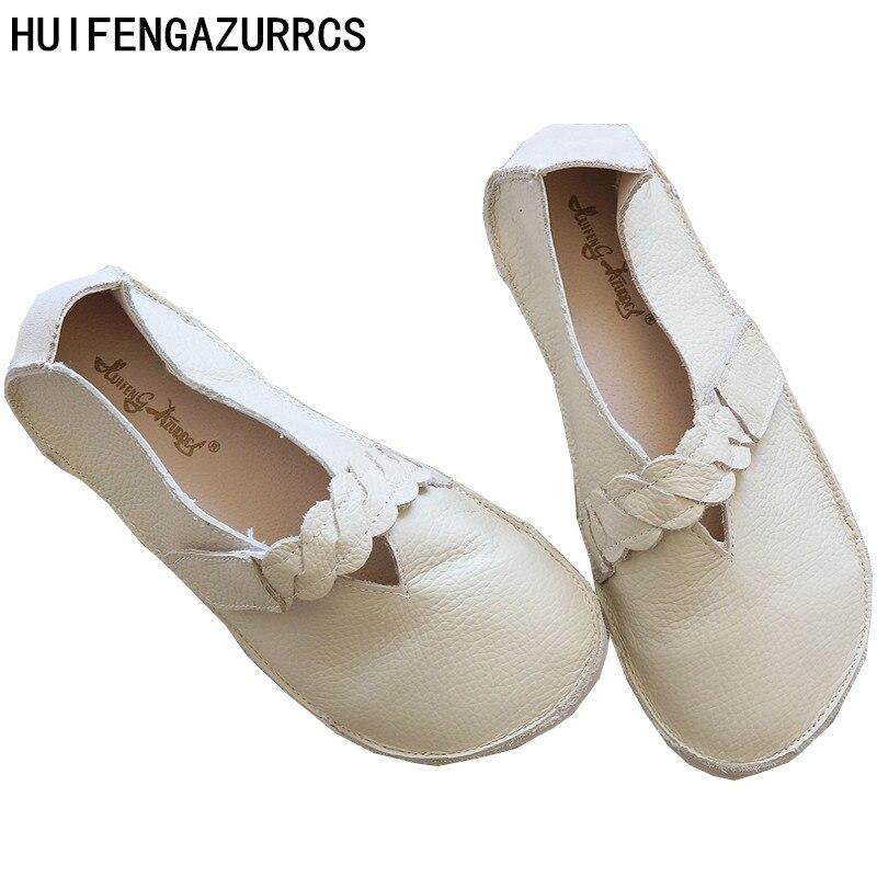 HUIFENGAZURRCS Originele persoonlijkheid kenmerken handgemaakte schoenen Boeddhistische Koreaanse stijl echt volledig lederen RETRO art met platte schoenen-in Platte damesschoenen van Schoenen op  Groep 1