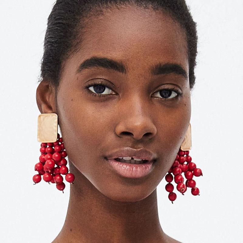 Best lady Hot Trendy Beads Handmade Dangle Drop Earring Jewelry Earrings for Women Bohemian Fringed Wedding Party Gift Wholesale