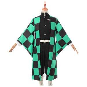 Image 2 - Аниме Demon Slayer Kimetsu no Yaiba Tanjiro Kamado косплей костюм мужское кимоно для вечеринки на Хэллоуин