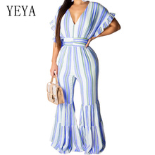 YEYA Summer High Quality Wide Leg Playsuits Fashion Hollow Out V Neck Stripe Retro Loose Jumpsuits Casual Beach Party Overalls