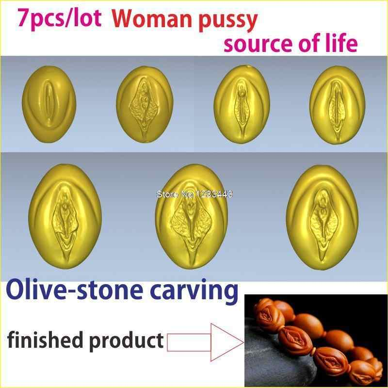 7pcs/lot 3d model relief  for cnc or 3D printers in STL file Fruit pit carving of Woman pussy and the source of life
