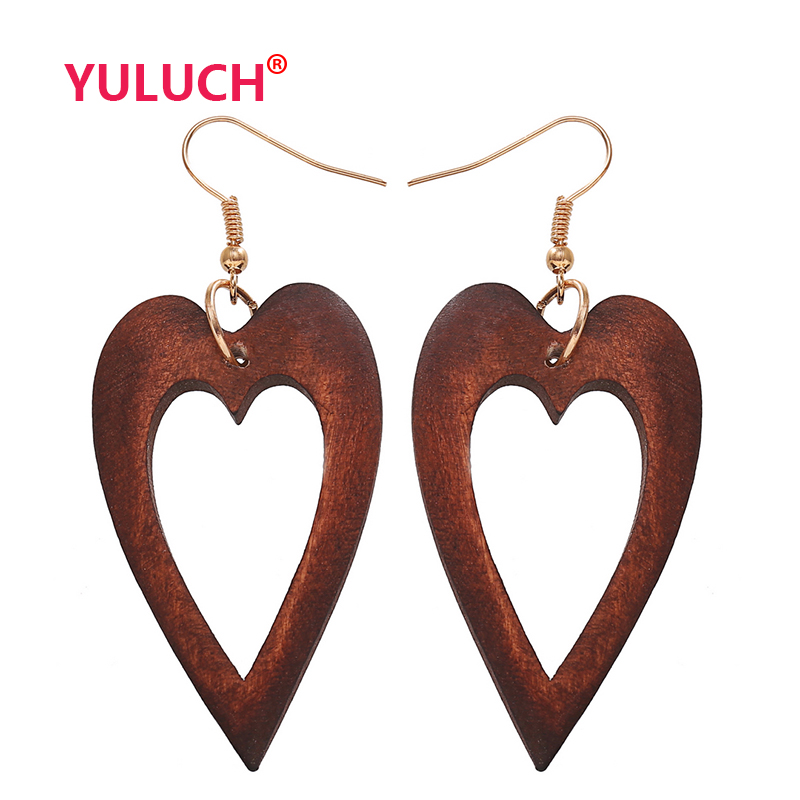 YULUCH Log Handmade African Pop Jewelry for Wooden Skull Hollow Drop Earrings Fashion Women Luxury National Gifts