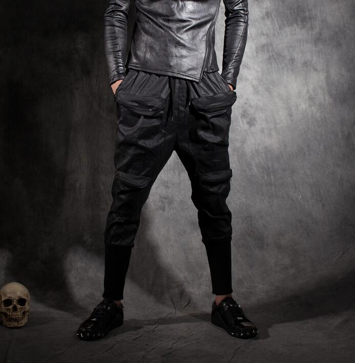 Beam patchwork pants mens casual trousers male personality pocket decoration slim men skinny pants black pantalones hombre