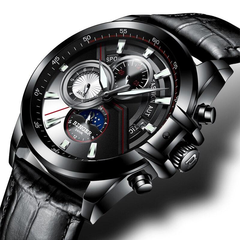 سويسرا بينغر ووتش الرجال الفاخرة العلامة التجارية الرجال الساعات الياقوت مضيئة الساعات الذكور للماء الميكانيكية المعصم B1189 3-في الساعات الميكانيكية من ساعات اليد على  مجموعة 1