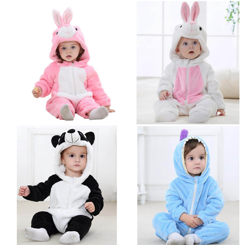 KISBINI Baby Girls Boys Cartoon Blanket Sleepers Flannel Romper Autumn Winter Animal Pattern Bunny Newborn Pajamas Clothes