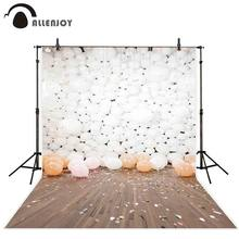Allenjoy photocall backdrops white balloons plank confetti indoor party celebrate photographic background for photo shoots(China)