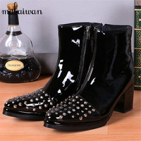 British Style Fashion Men 8CM High Heel Botas Banquet Stage Hairstylist Shoes Black Patent Leather Rivets