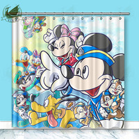 Vixm Home Toonstruck Mickey Minne Donald Duck Polyester Fabric Shower Curtain Carnival Party Custom Window Curtain for Bathroom