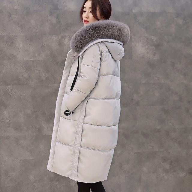 El Nuevo Gran Collar Espesar Down Jacket Mujer Estilo Largo Con Capucha Suelta Hasta La Rodilla de Largo 2016 Abrigo de Invierno Outawear
