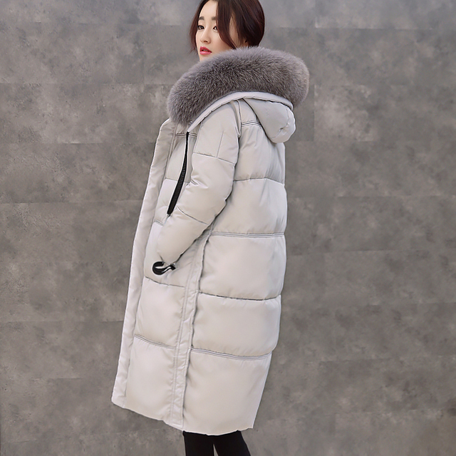 The New Large Collar Thicken Down Jacket Woman Long Style Loose Hooded Knee Long 2016 Winter Coat Outawear