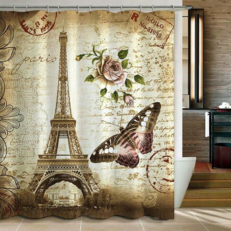 Paris Eiffel Tower Waterproof Kids Bathroom Shower Curtain Retro Vintage Home Decoration Polyester Fabric Accessories In