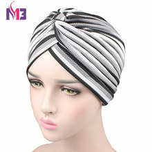 Women Knitted Striped Turban High Quality Breathable Hat Headband Headwear For Chemo Hijab Hair Accessories