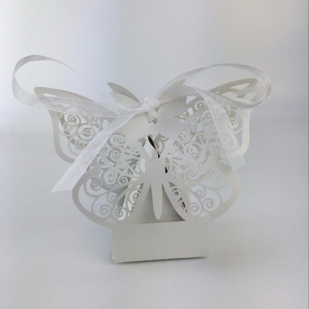 50pcs top sales clients butterfly wedding favor box candy box ...