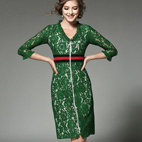 HIGH QUALITY New Fashion 2017 Club Party Runway Dresses Women S Design Red Striped V Neck