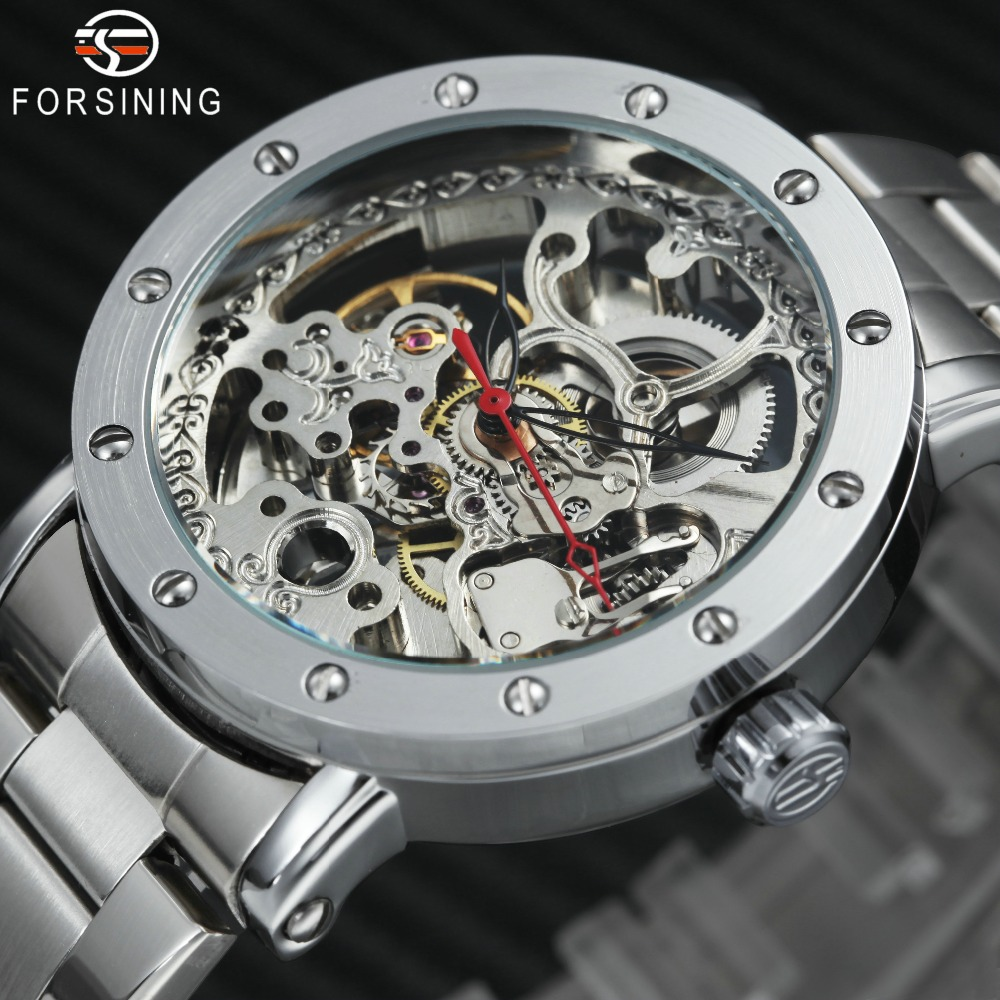 2018 FORSINING Steampunk Fashion Auto Mechanical Watch Men Stainless Steel Strap Skeleton Dial Top Brand Luxury Wrist Watches winner mens watches top brand luxury leather strap skeleton skull auto mechanical fashion steampunk wrist watch men gift box