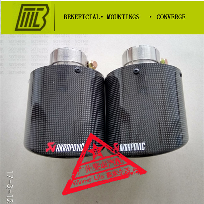 Car Styling 1pcs Inlet 54-114mm Muffler Matte Carbon Fiber Coated Stainless Steel Universal Pipe Tail Tip Akrapovic Exhaust stylish stainless steel car exhaust pipe muffler tip